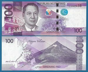 Philippines P-208 100 Pesos Year 2010 Uncirculated Banknote Asia