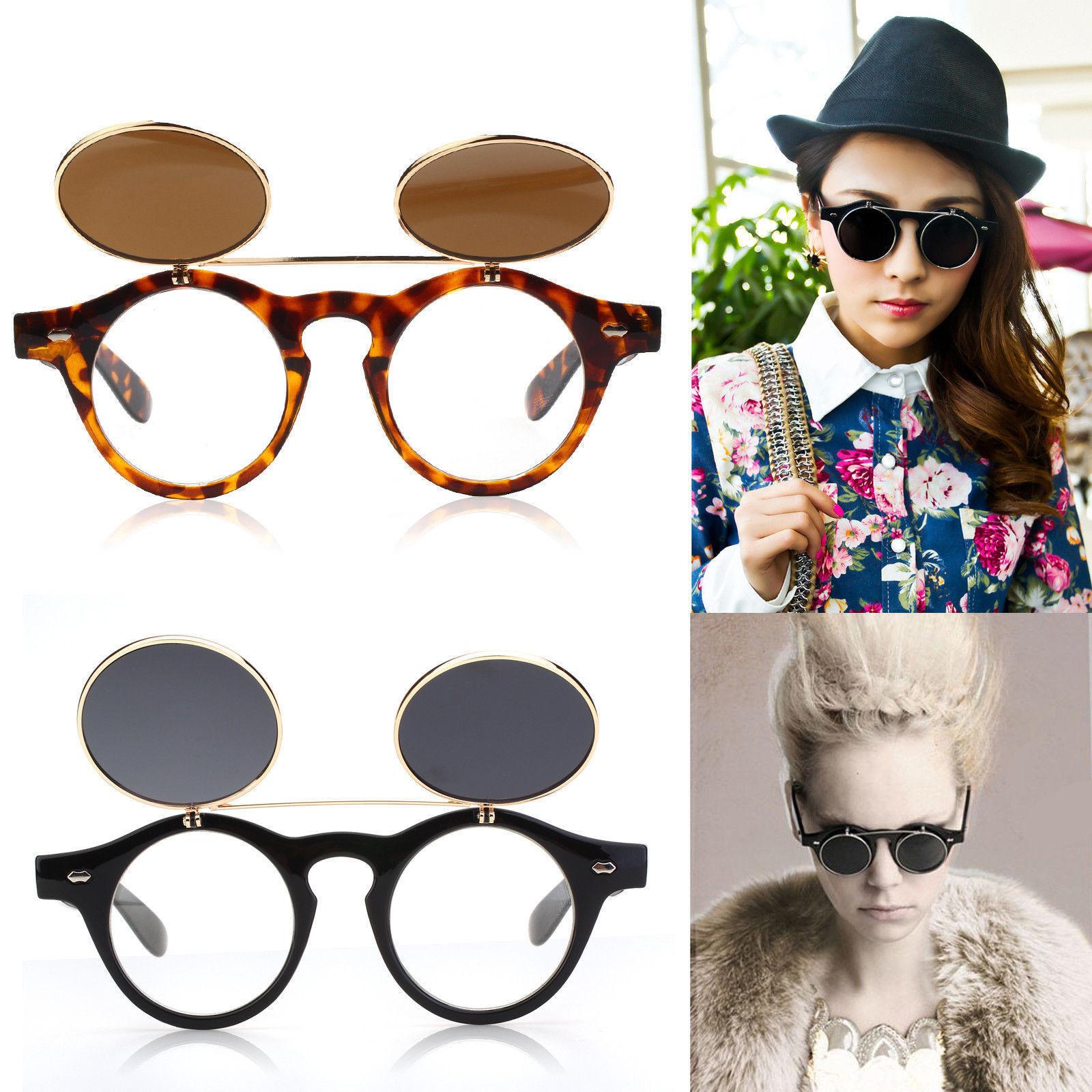 Flip Up Circle Steampunk Glasses Goggles Sunglasses Retro Vintage Mens Ladies UK