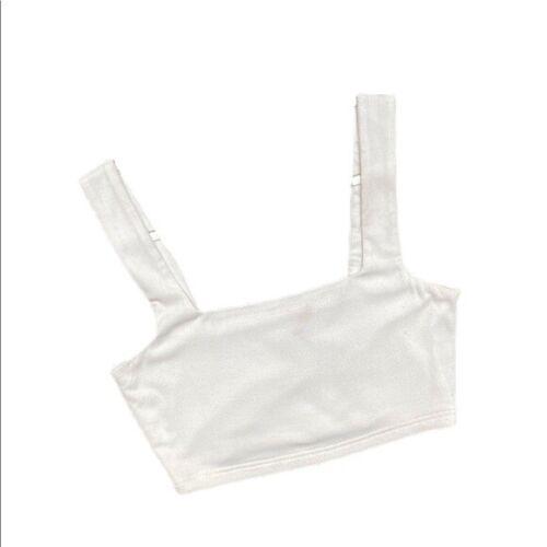 TOBI Soft White Ribbed Sleeveless Crop Top