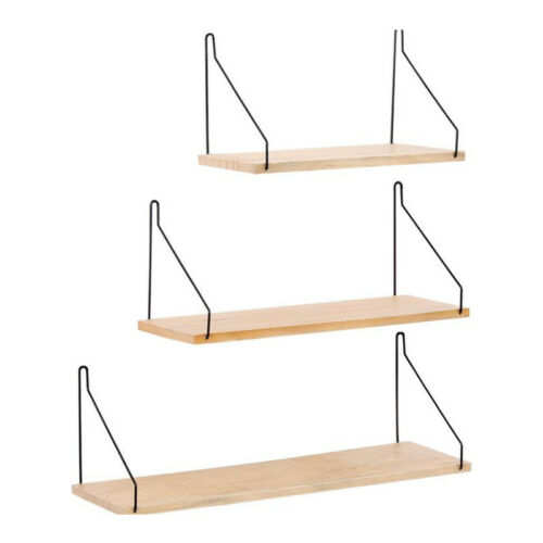 Floating Wall Shelves Wrought Iron Wood Display Shelf Bookshelf