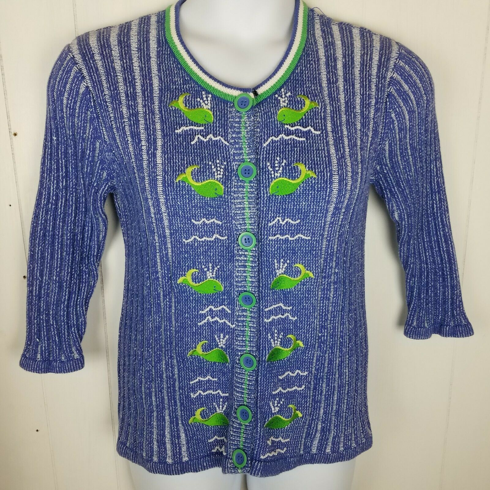 Storybook Knits Sweater Size S Whale of a Day bluee Green Beaded Cardigan