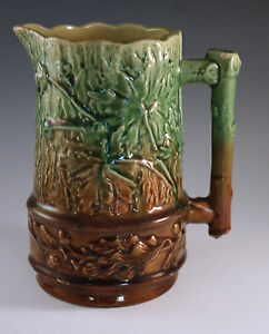 VICTORIAN-ENGLISH-MAJOLICA-OAK-LEAVES-AND-ACORNS-BROWN-AND-GREEN-PITCHER