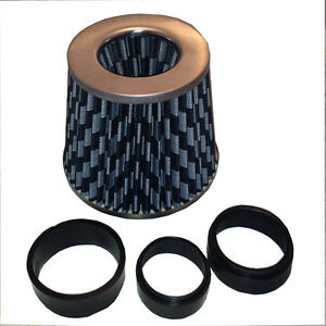 Universal-Fit-Fitting-Carbon-Mesh-Look-Air-Filter-Induction-Kit-amp-Adapter-Rings
