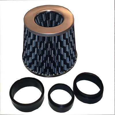 Universal Car Air Filter Induction Kit Inc Adapters Carbon Mesh Look Cone Sports