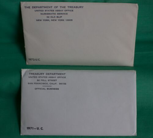 1971 and 1972 P and D US Mint Uncirculated 11 Coin BU Sets with Envelope TWO Pcs