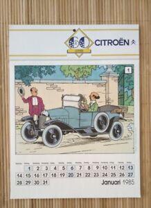 Calendrier-publicitaire-Citroen-Tintin-1985-complet-calendar