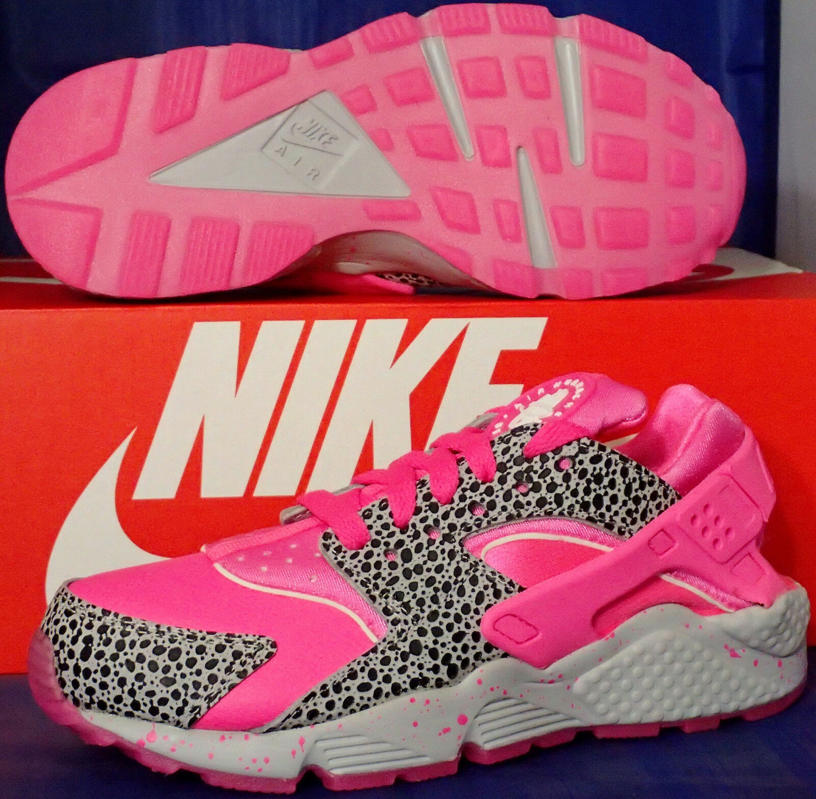 femmes Nike Air Huarache Run iD Safari rose Pow Cool Gris SZ 6 ( 777331-992 )