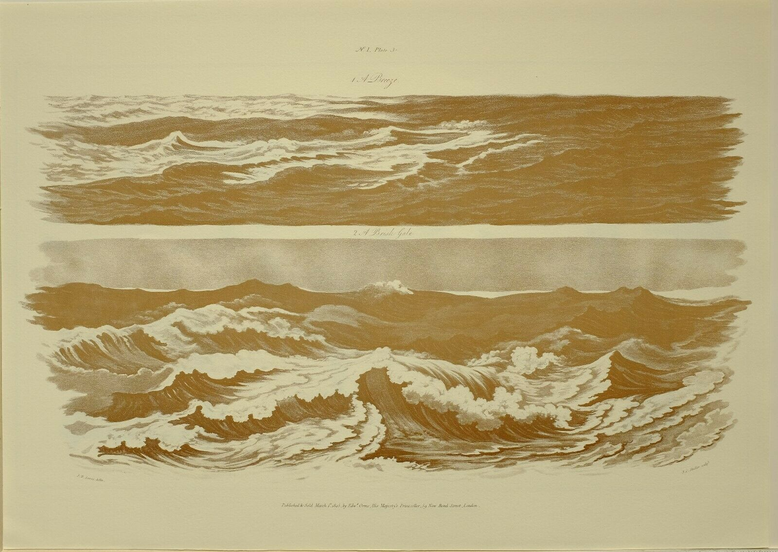 1805 Marine Aufdruck Water Studies Brisk Gale 1979 Groß Faksimile Liber Nauticus