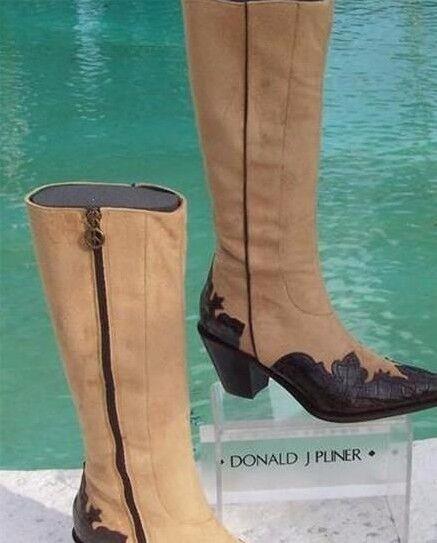 Donald Pliner Pliner Pliner Western Couture Gator Leather Stiefel schuhe New Suede Peace  595 NIB 219e03