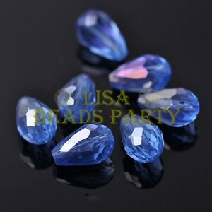 New-20pcs-16X10mm-Faceted-Teardrop-Crystal-Glass-Spacer-Loose-Beads-Lt-Blue-AB