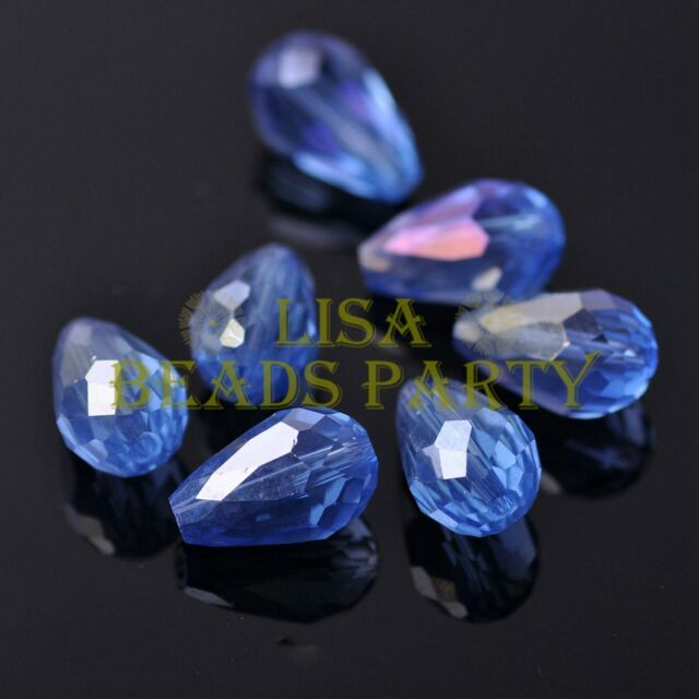 New 20pcs 16X10mm Faceted Teardrop Crystal Glass Spacer Loose Beads Lt Blue AB