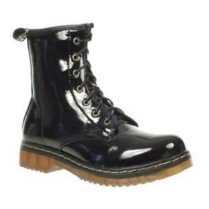 2912662fa1f Details about Truffle Buk 2 Black Patent Combat Boots Ankle Lace Up Vegan  Boot Side Zip