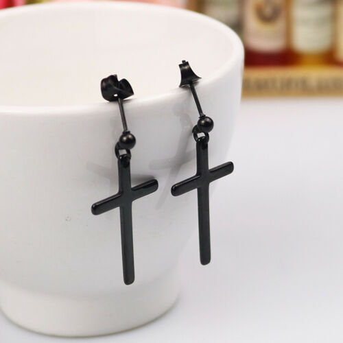 Unisex Drop Dangle Little Cross Crucifix Charm Stud Earrings Boho Festival