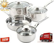 7 PIECE Stainless Steel Cookware Set Cooking Pots & Pans Encapsulated Bottom NEW