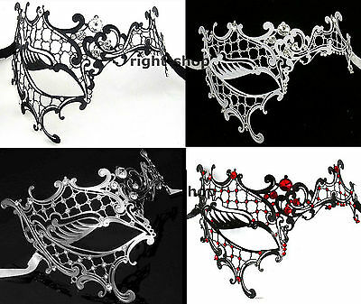 Phantom of the Opera - Black or White Metal Masquerade Mask - Silk Ties