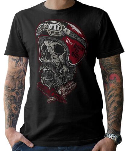 T-SHIRT Biker Skull Helmet Beard Motorrad Chopper Schrauber Bart MC Herren S-5XL