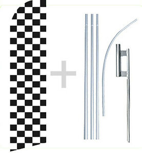 Black White BW Checkered Checker - Swooper Flag KIT Feather Flutter Banner - wb