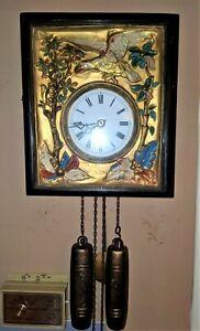 Black Forest French German Eagle picture frame swinger clock Gilded Gold