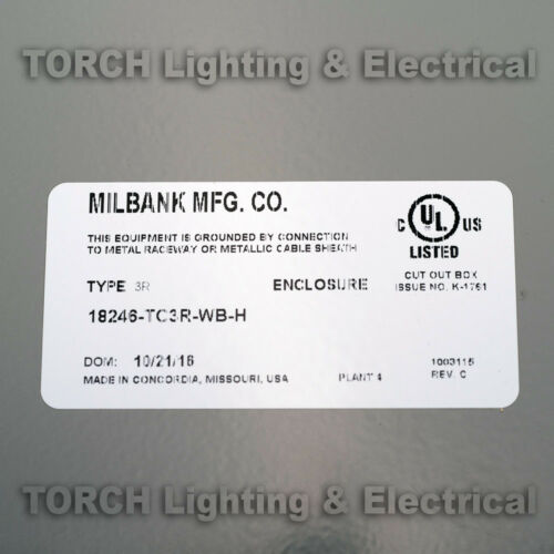**SUPER SALE** MILBANK Telephone Cabinet 18246-TC3R-WB-H Fire Treated Back Panel