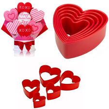 Heart Cookie Cutter Tala Valentine Plastic 5pcs Mould Red Pastry Backing Molds