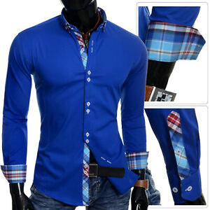Shirts & Hemden Kleidung & Accessoires 2019 Neuer Stil Men's Button Down Collar Shirt Smart Cotton Royal Blue Cyan Check Cuffs Slim Fit