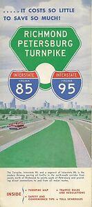 1963 Toll Road Map Brochure Richmond Petersburg Turnpike Virginia I