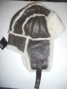 40428a25446 Image is loading UGG-Australia-Bomber-Aviator-Shearling-Hat-O-S-Chocolate-