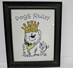 Dogs-Rule-Cross-Stitch-Embroidered-Picture-Framed