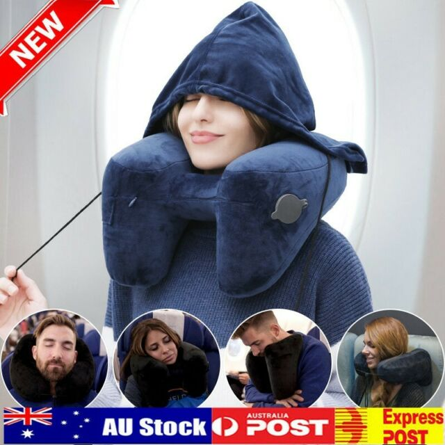 Inflatable Neck Pillow Travel Pillow With Velvet Hood For Office Car Airplane S5