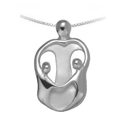 Small Mother and 2 Children Necklace Loving Family Silver Mother/'s Jewelry