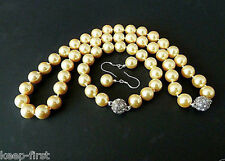 Genuine 10mm Yellow South Sea Shell Pearl Necklace Bracelet Earrings Set AAA