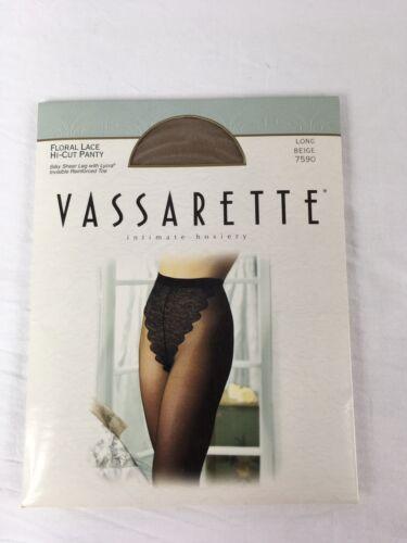 Vassarette Floral Lace Hi-Cut Panty Sheer Nylon Pantyhose LONG BEIGE #7590