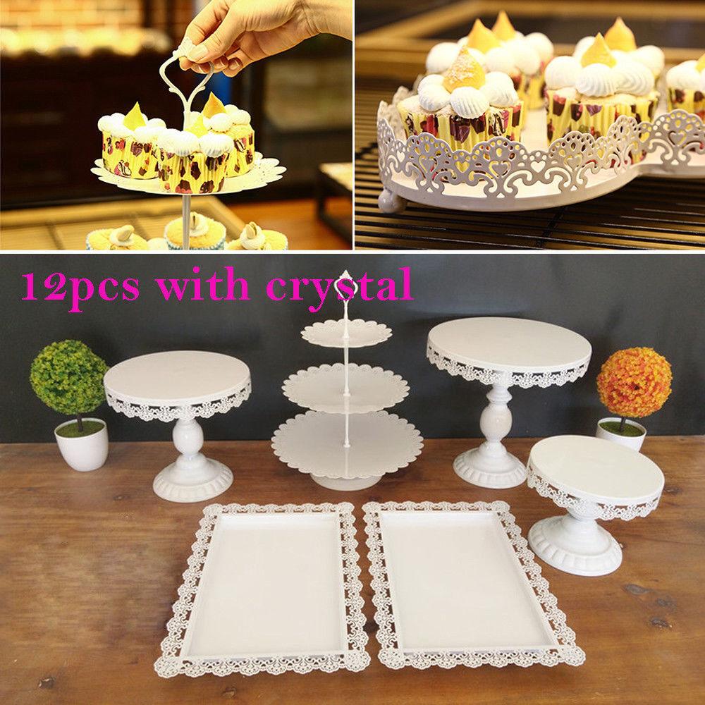Royaume-Uni Crystal Cupcake Stand Gateau De Fête De Mariage Dessert Assiette Display 12pcs