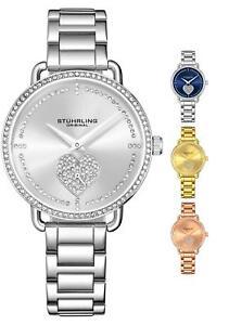 Stuhrling 3910 Women's Crystal Studded Fashion Stainless Steel Bracelet Watch