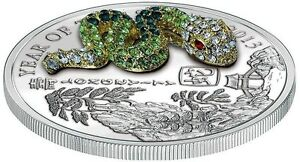 Rwanda-2013-500-Francs-SNAKE-PAVE-3D-Lunar-Year-Silver-999-Fine-Silver-RARE