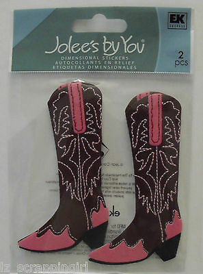 Jolee's Boutique ~WOMEN'S PINK COWBOY BOOTS~ Dimensional Stickers COWGIRL RODEO