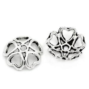 100-Antik-Silber-Hohl-Blume-Endkappen-Perlenkappen-10x-10mm