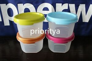 Tupperware-Modular-Mates-Round-1-Container-Set-of-4-Vibrant-Color-Seal-New