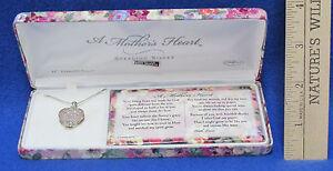 Details About Mothers Heart Necklace Rose Quartz Heart Pendant Sterling Silver Gift Box Poem
