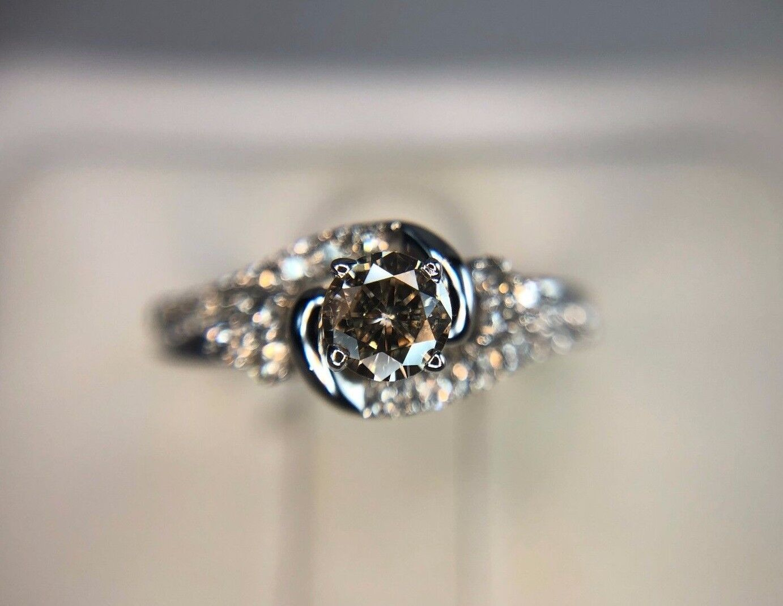 Estate 14k White gold Round Brilliant Diamond Engagement Ring 1 2 ct