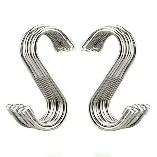 S Shaped Hooks Small S Hooks Metal Hanging Hooks Stainless Steel Kitchen Pot Pan Hanger for Bedroom Bathroom Garden and Office Prime 24 Piece