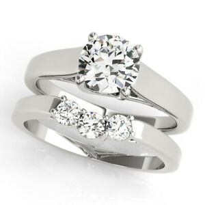 1.25 Ct Round Cut Moissanite Engagement Band Set Real 18K White Gold Ring Size 4
