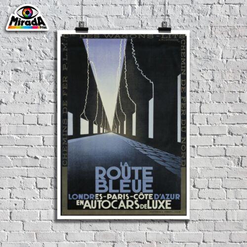 Poster Vintage La Route Bleu Londres Paris Cote D/'Azur Allee Topquality Grafik