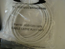 TWO ( QTY 2 ) 14 FT CAT5E WHITE RJ11 6P4C Data Cable Part NO. ASB1320-14W