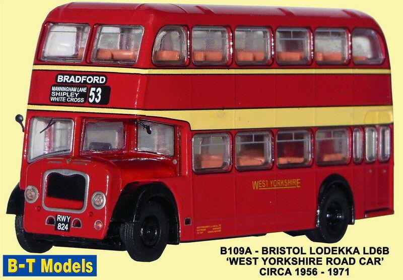B-T Modelo B109A B109A B109A Bristol Lodekka Oeste Yorkshire Rojo 1 76 Escala Oo Envoltorio ba1309