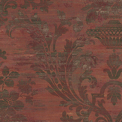 Vintage Victorian Antique Damask Weathered Maroon Red Green Brown Wallpaper