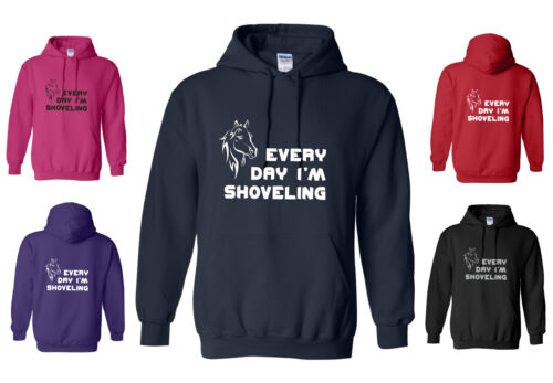 NEW ADULT FUNNY HORSE HOODY GLITTER EVERY DAY I/'M SHOVELING S-XXL RED//BLACK