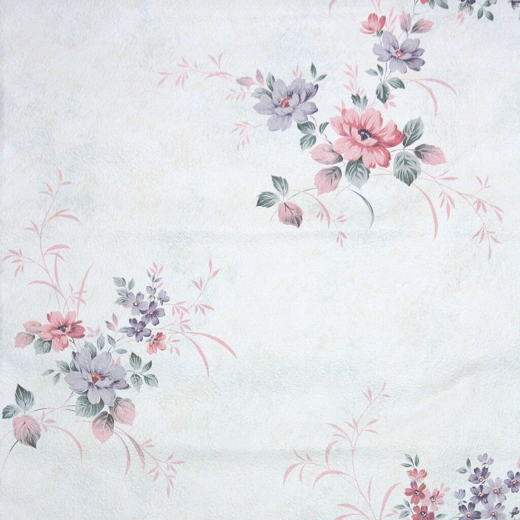 1980s Floral Vintage Wallpaper Purple and Pink Flowers on White