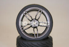 RC 1/10 Street SEMI SLICK WHEELS TIRES Package 3MM Offset GUN METAL 5 STAR