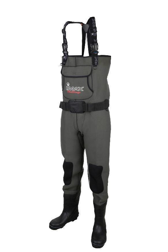 IMAX NEW  Challenge Neoprene Chest Waders Cleated & Studded Sole - All Sizes  free shipping!